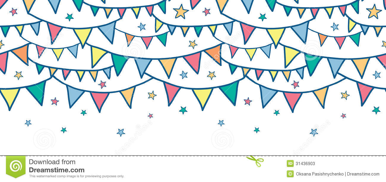 Colorful Doodle Bunting Flags Horizontal Seamless Stock