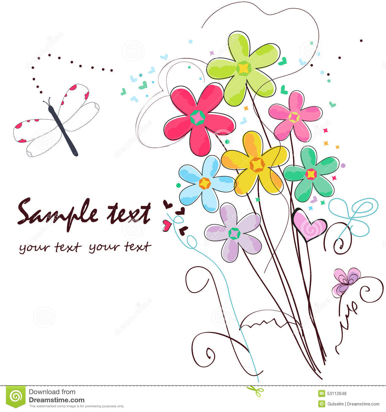 colorful doodle flowers border greeting card stock vector