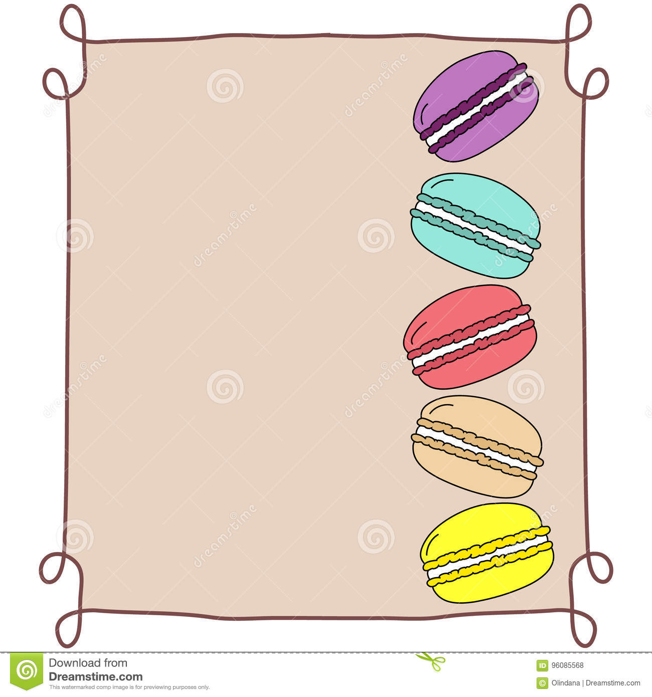 colorful doodle hand drawn macarons stacked in vintage frame on