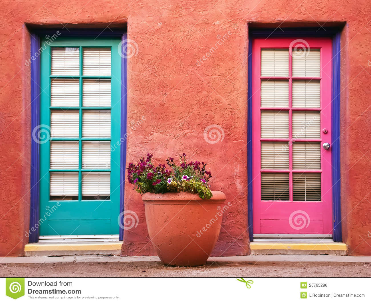 Colorful Doors And Terracotta Wall Stock Photo Image