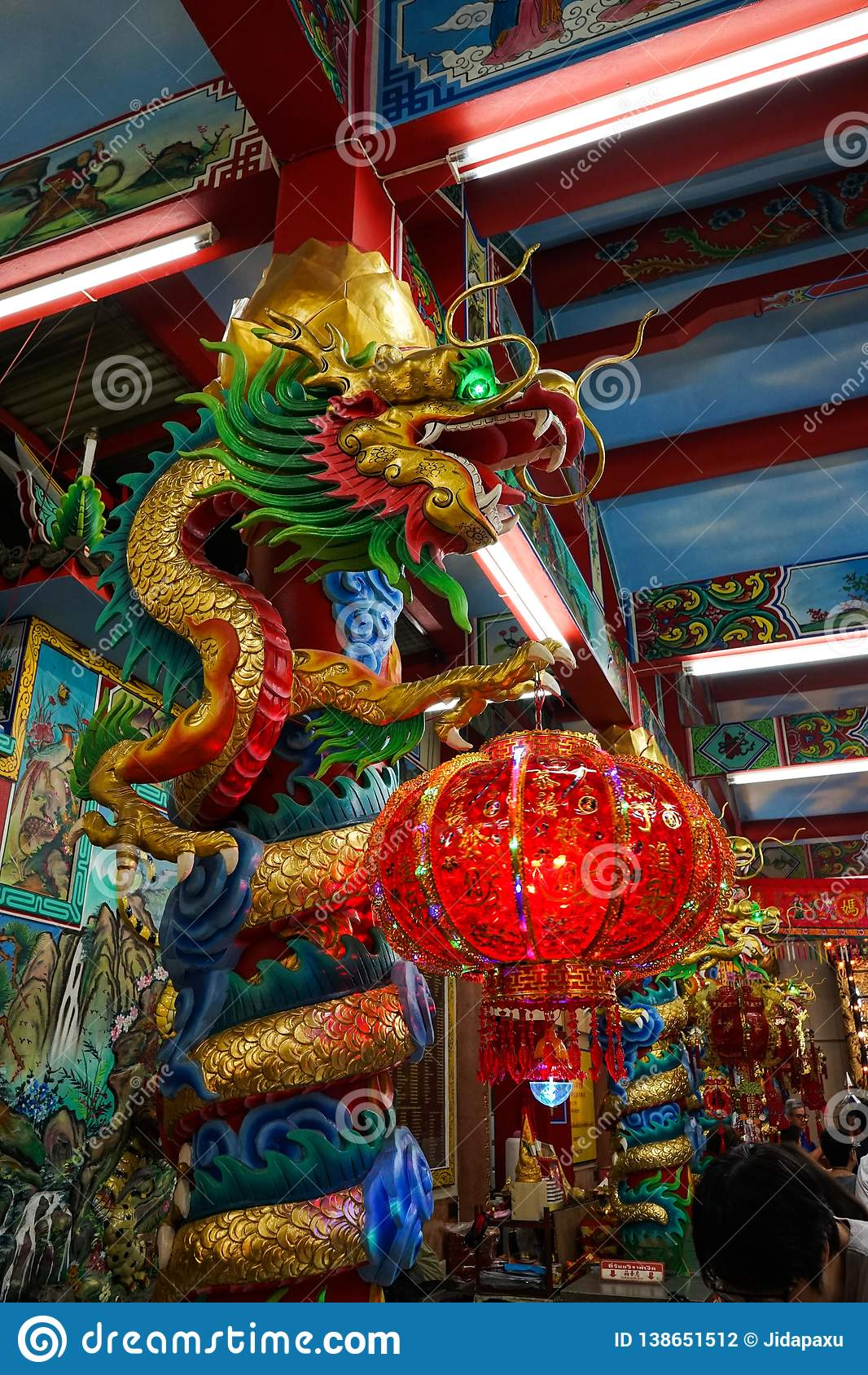 Colorful dragon in chinese temple