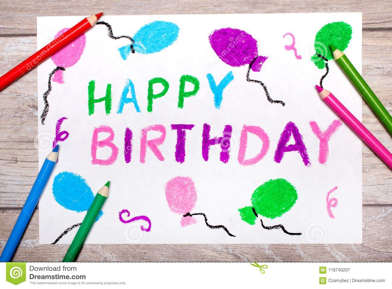 Colorful Drawing Happy Birthday Card