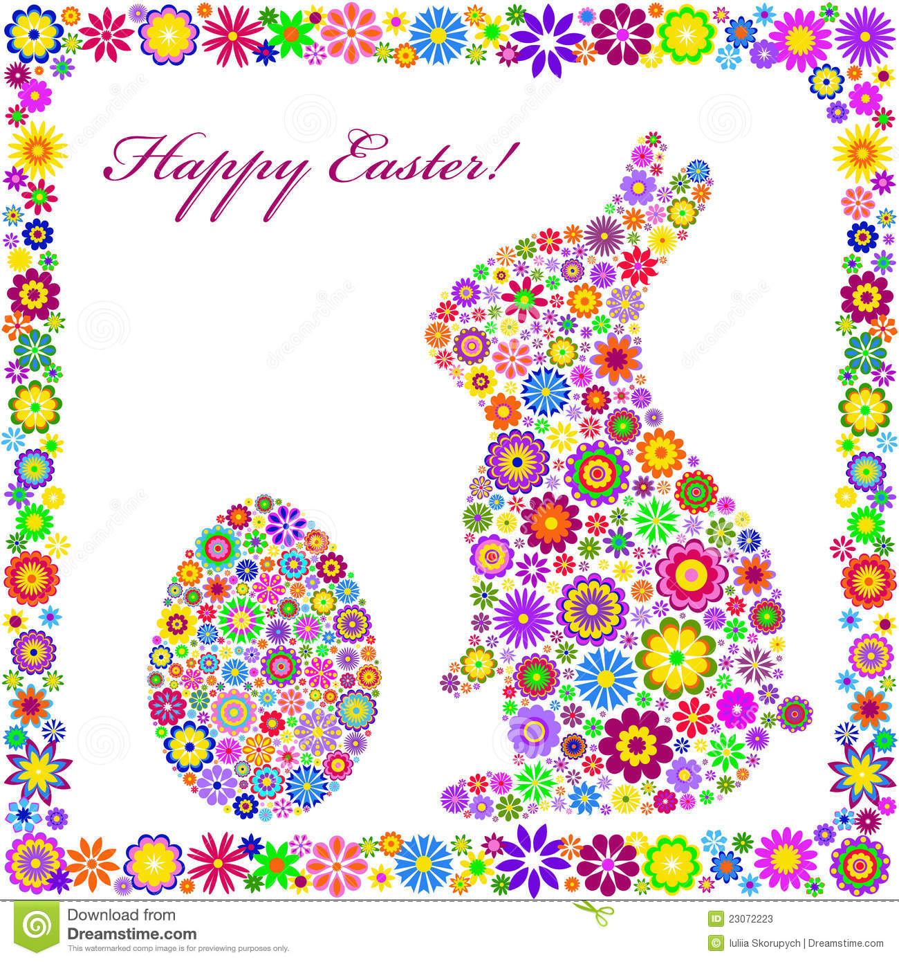 Colorful Easter Card On White Background Photos Image – Easter Card