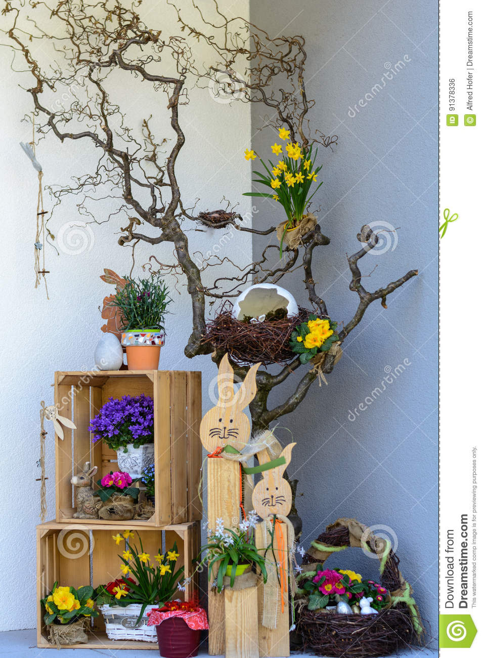 Colorful Easter decoration at home