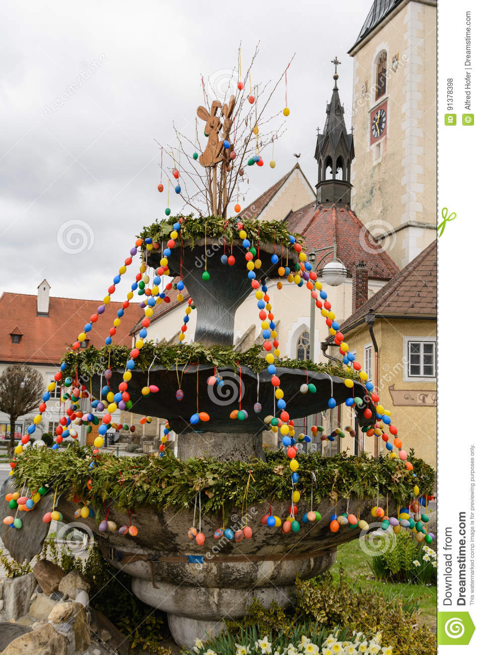 Colorful Easter decoration at the village square