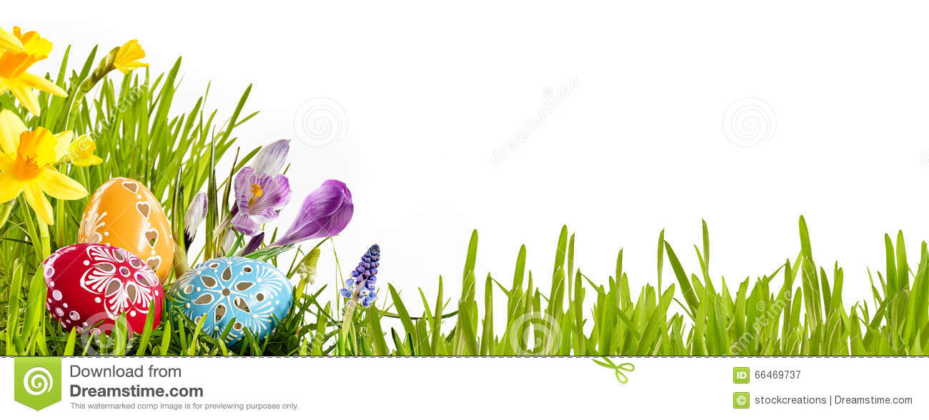 Colorful Easter egg banner with spring flowers