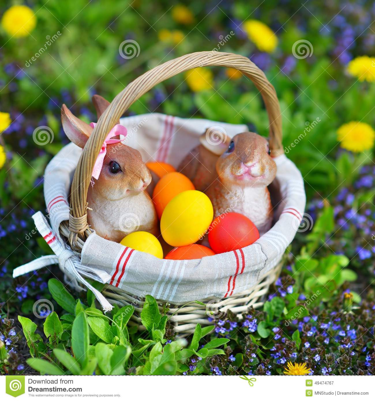 Colorful Easter Eggs In A Basket Stock Image - Image of happy ... for Easter Eggs In A Basket With A Bunny  150ifm