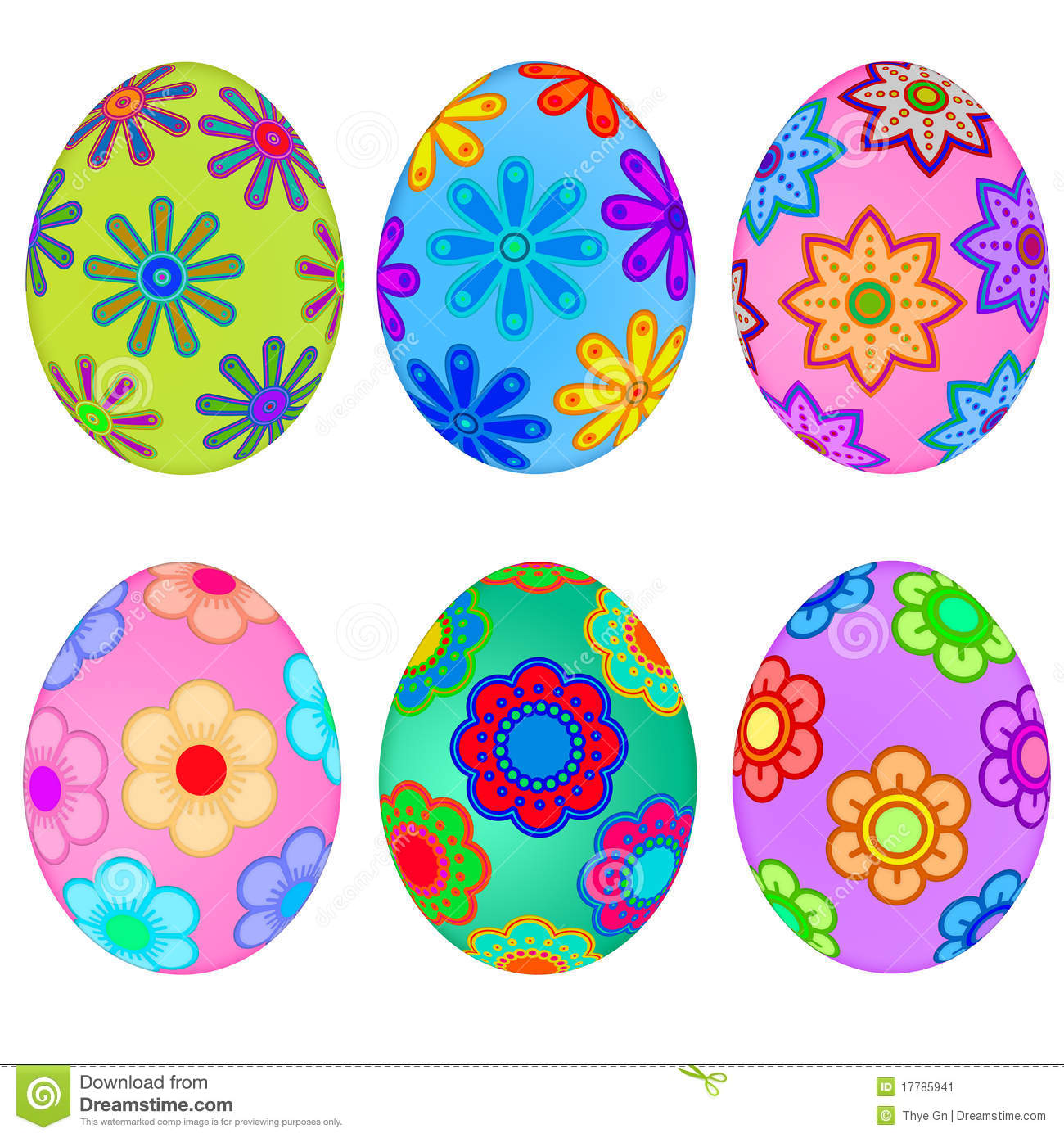 Colorful Easter Eggs With Floral Design Stock Illustration