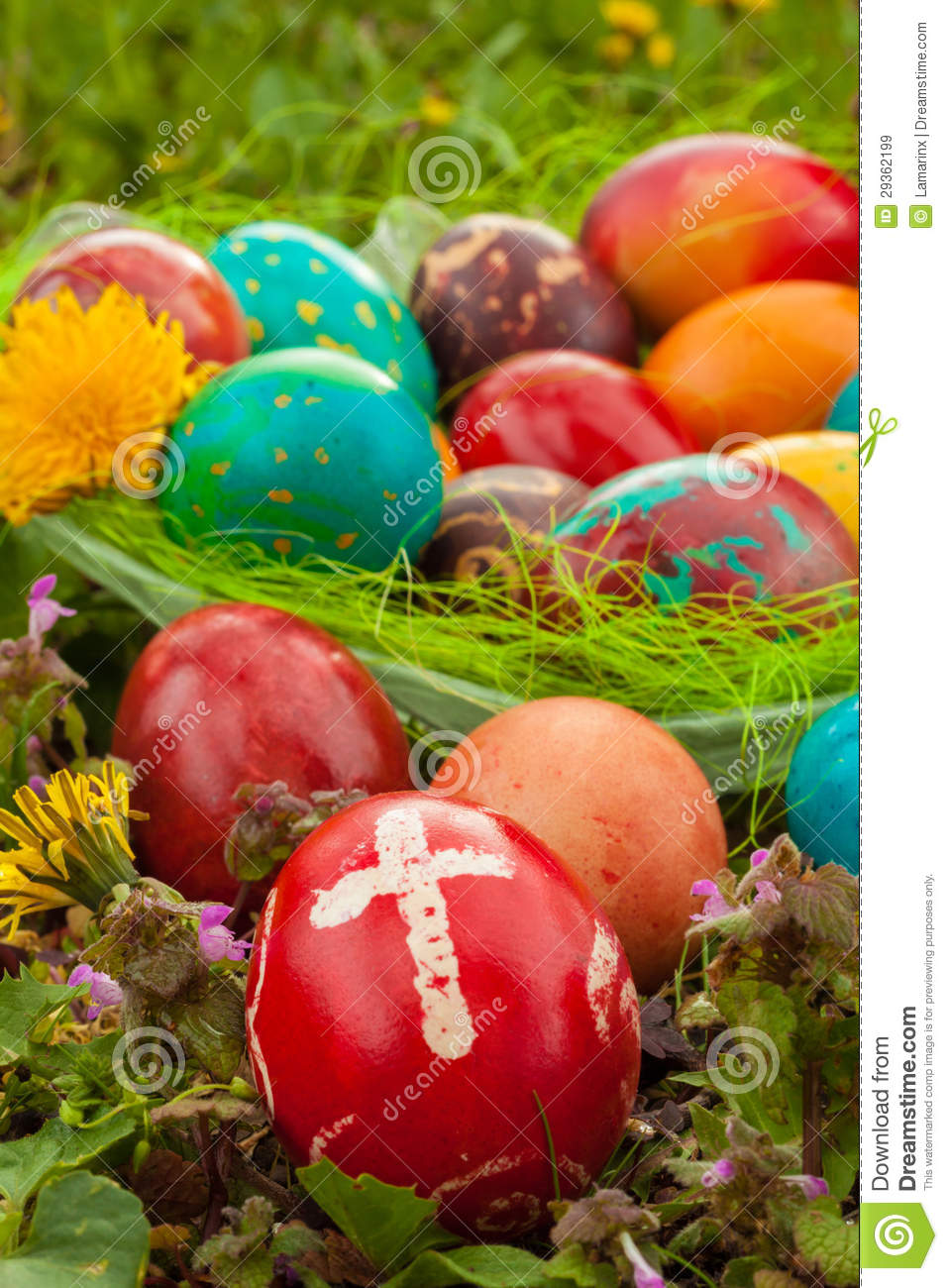 Colorful Easter Eggs With Flowers Outside Red Egg A Cross