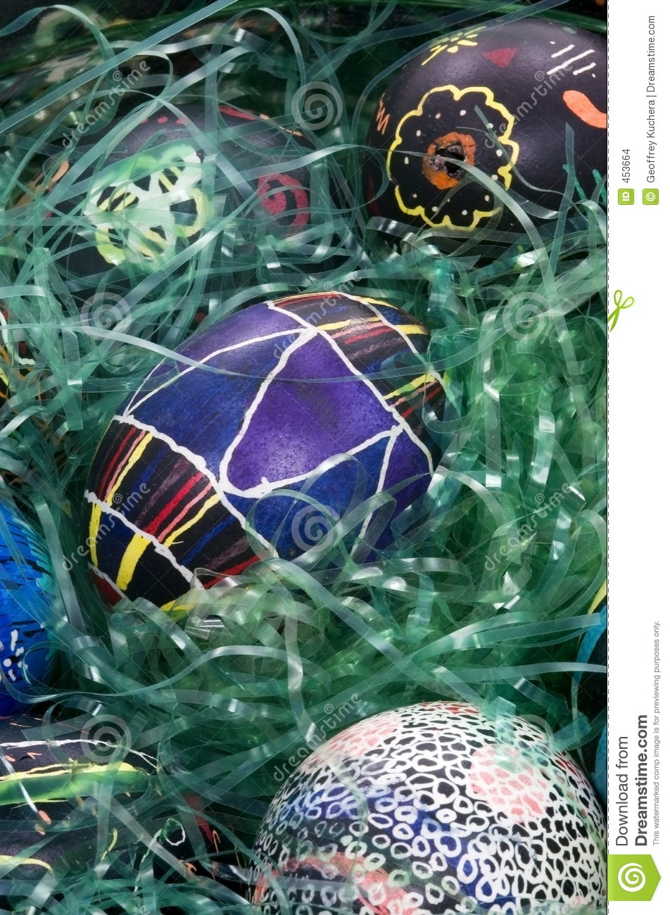 Colorful Easter Eggs in Grass - Geometic Design in Middle