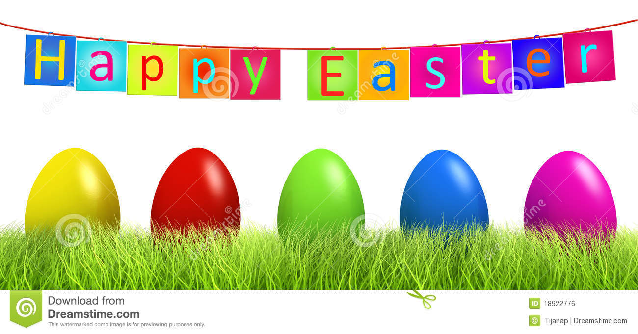Colorful Easter eggs in green grass isolated
