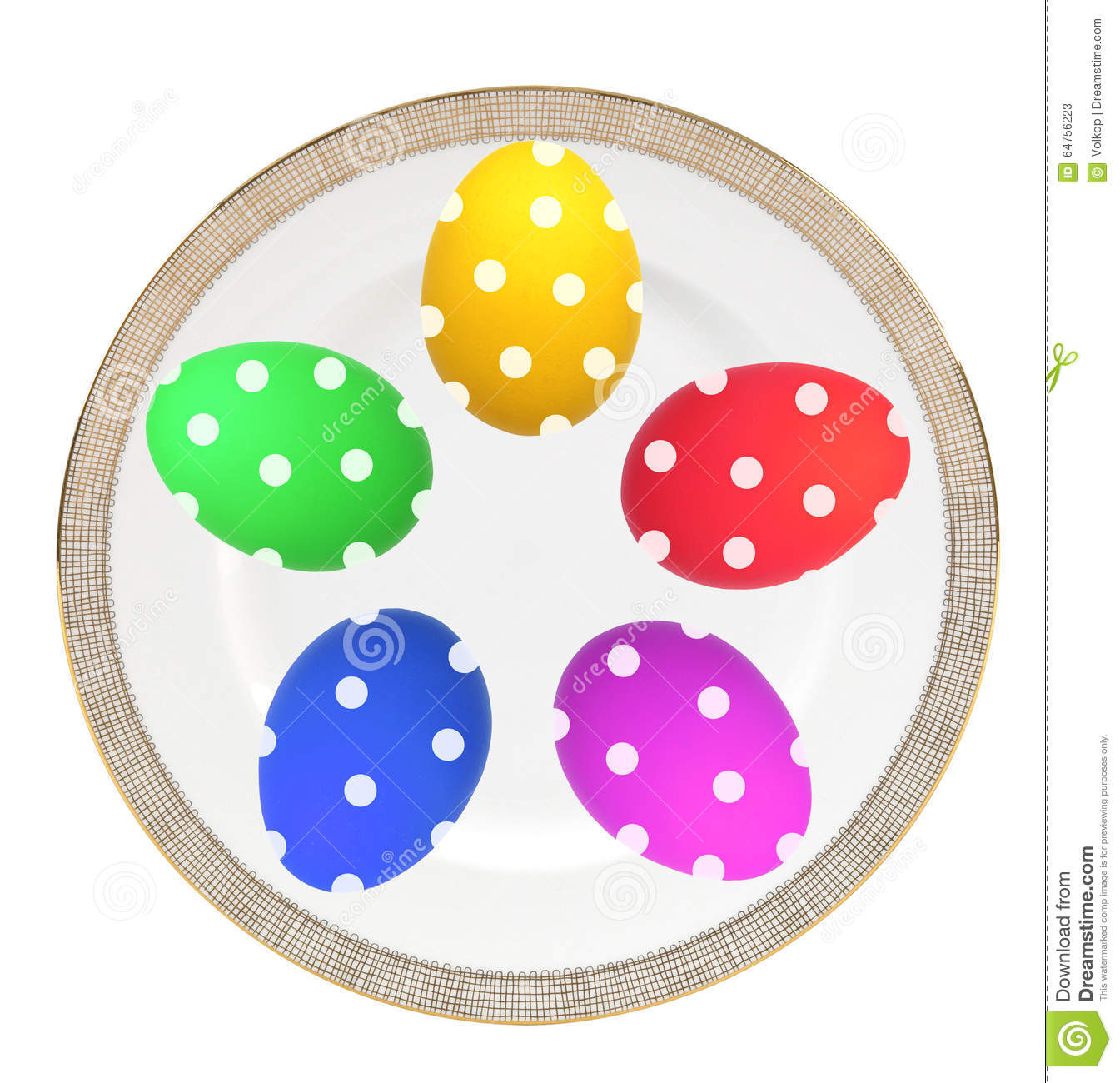 Colorful Easter Eggs on plate isolated on white