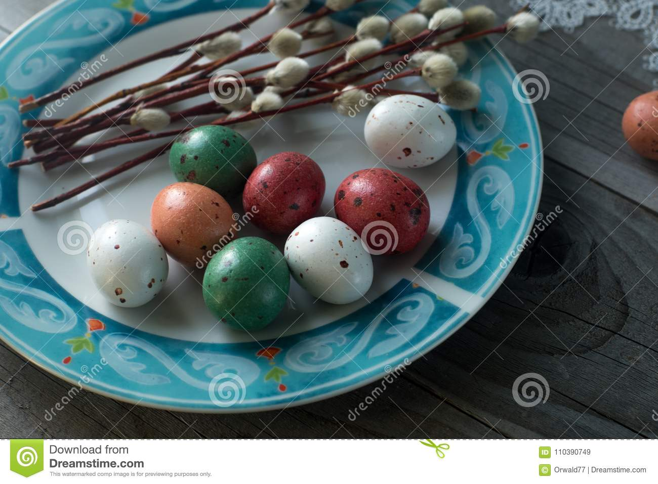 Colorful easter eggs and willow, spring holidays concept