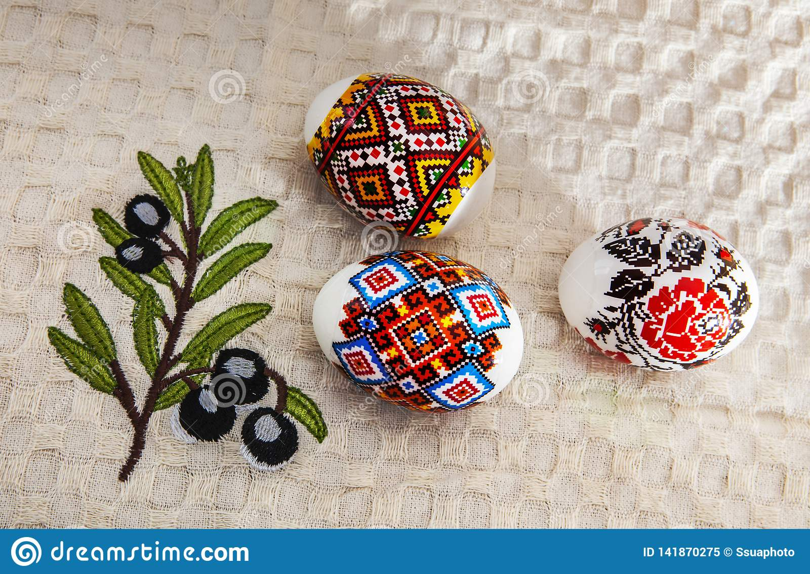 Colorful Easter Eggs on White Towel