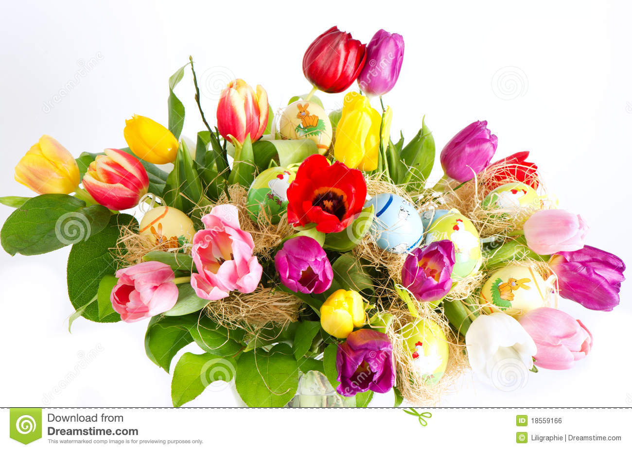 Colorful Easter Tulip Flowers Bouquet Royalty Free Stock Image - Image ...