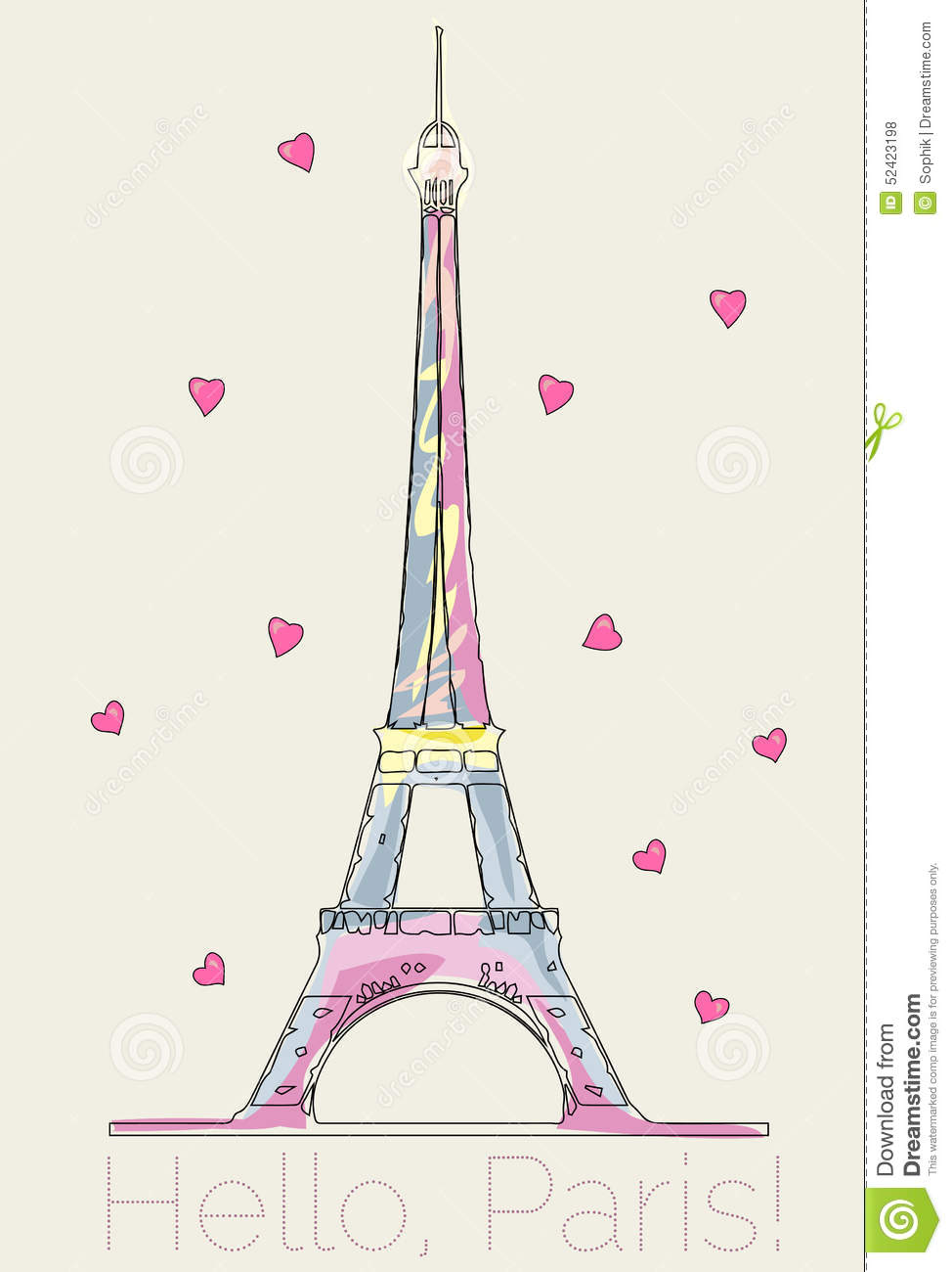 Colorful Eiffel Tower With Hearts Stock Illustration