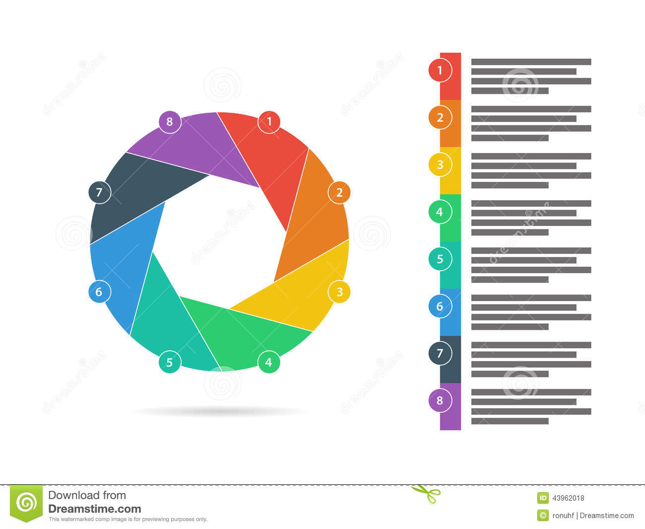 ... chart vector graphic template with explanatory text field isolated on