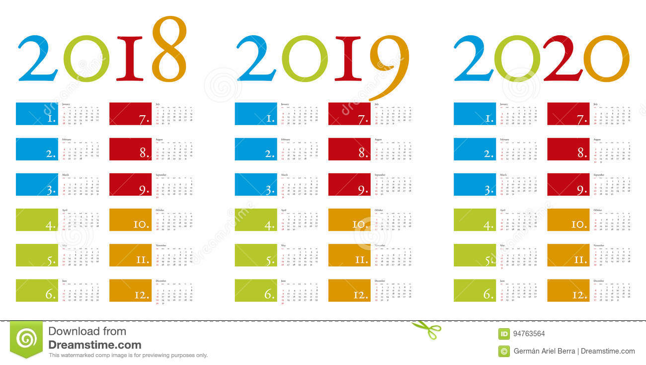 Colorful and elegant Calendar for years 2018, 2019 and 2020