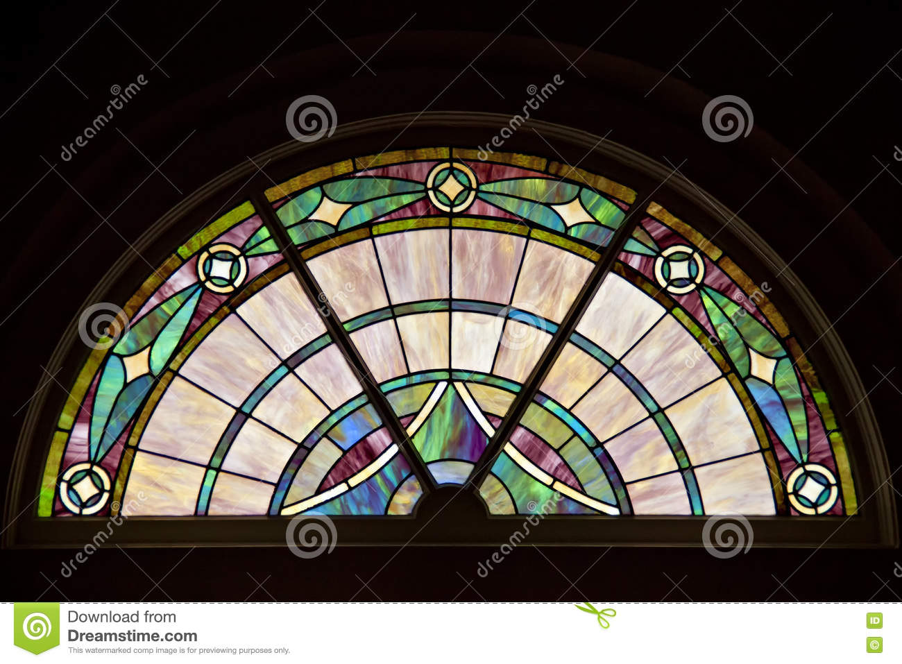 Colorful elegant patterned stained glass window in circle for Window design circle