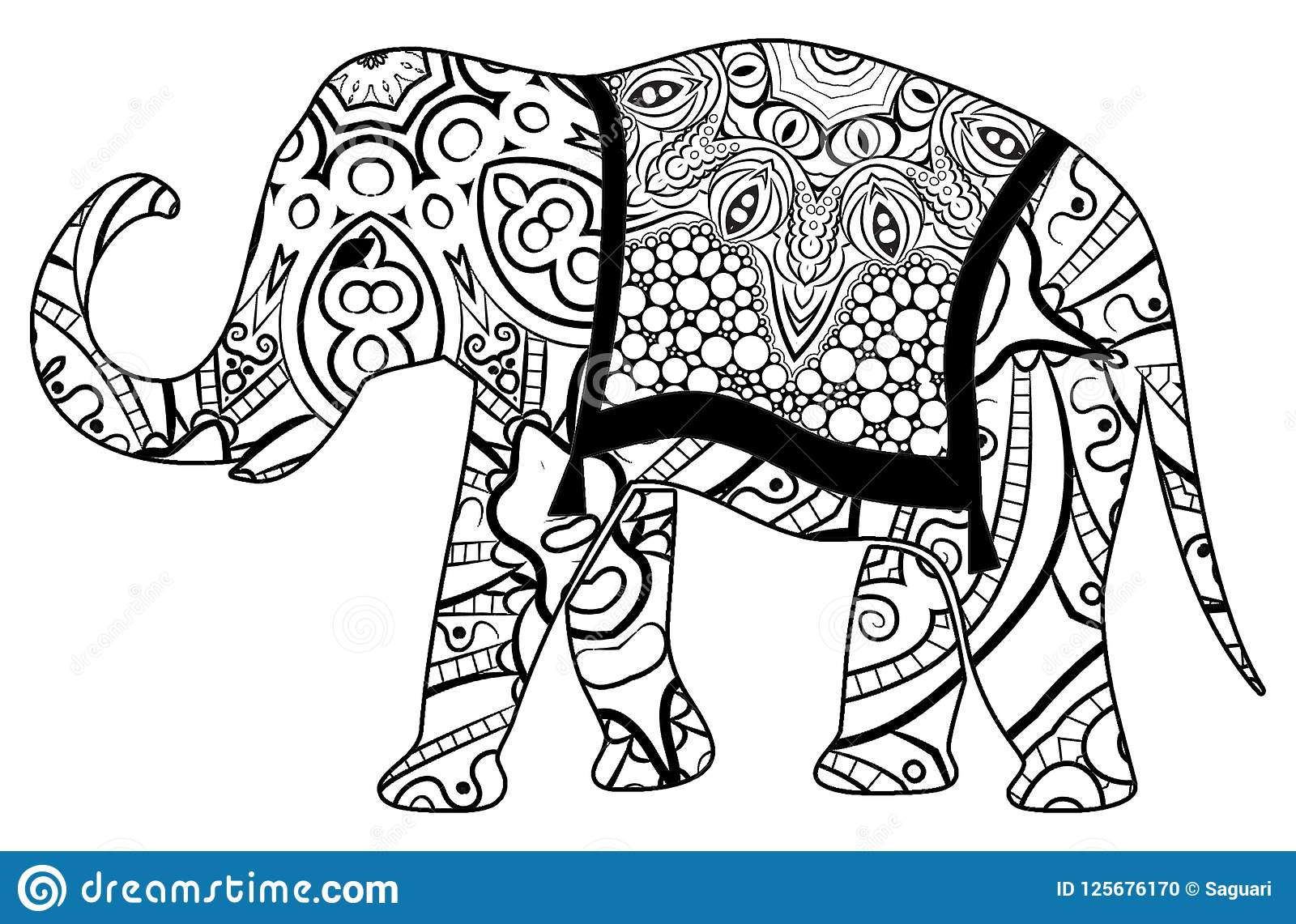 Colorful Elephant Coloring For Children And Adults Stock ...