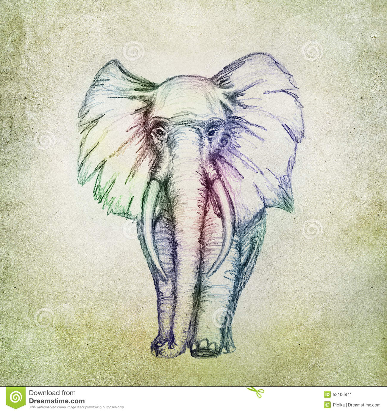 Colorful Elephant Drawing Stock Illustration. Illustration