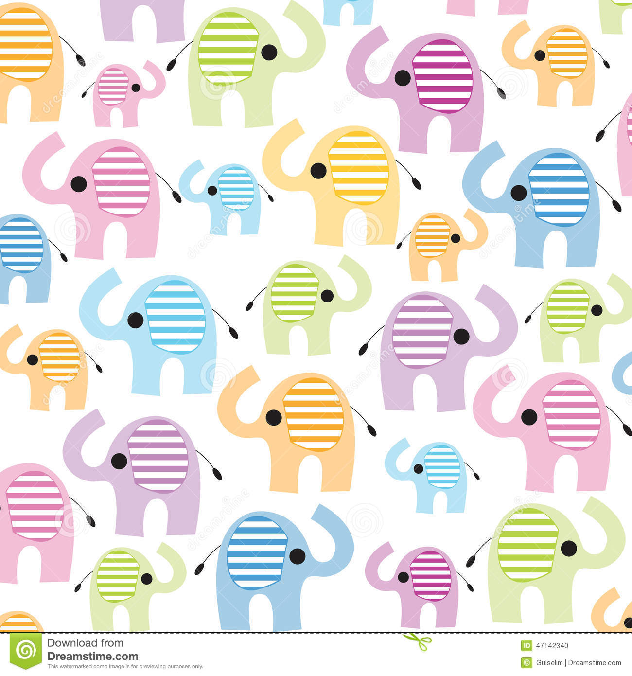 Colorful Elephant With Flowers Vector Wallpaper