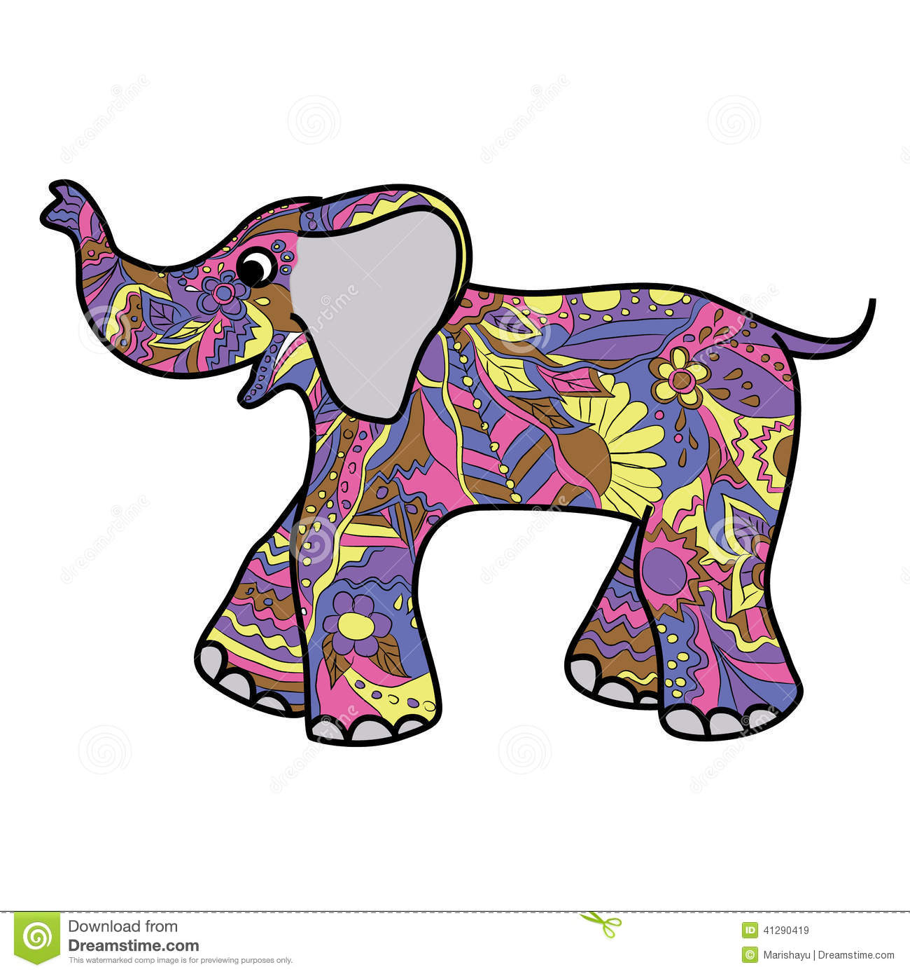 Elephant Drawing Color Colorful Elephant Drawings