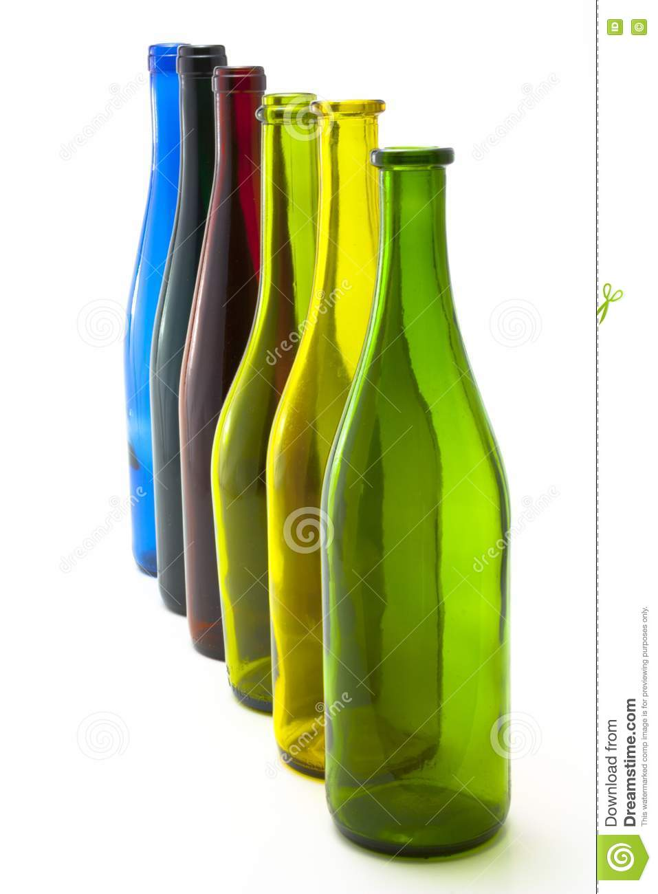 Colorful empty wine bottles in a line stock photography image 15731542 - Empty colored wine bottles ...