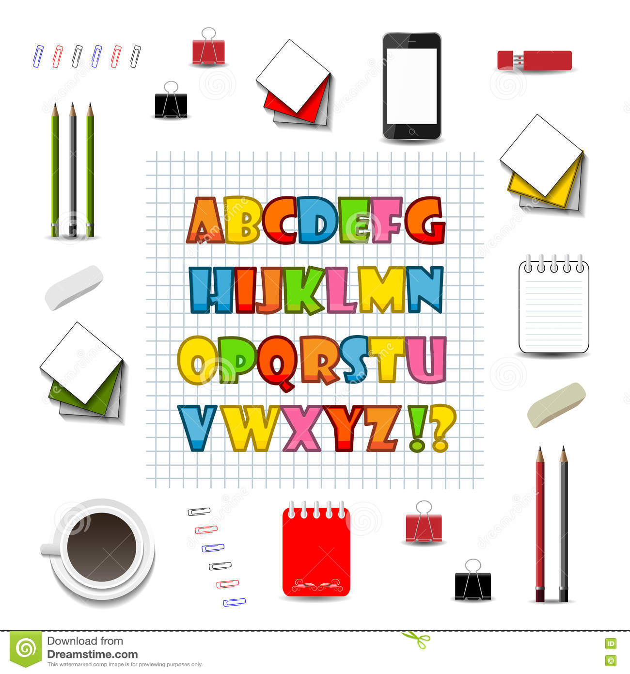 Colorful English Alphabet On The Background Grid Stock