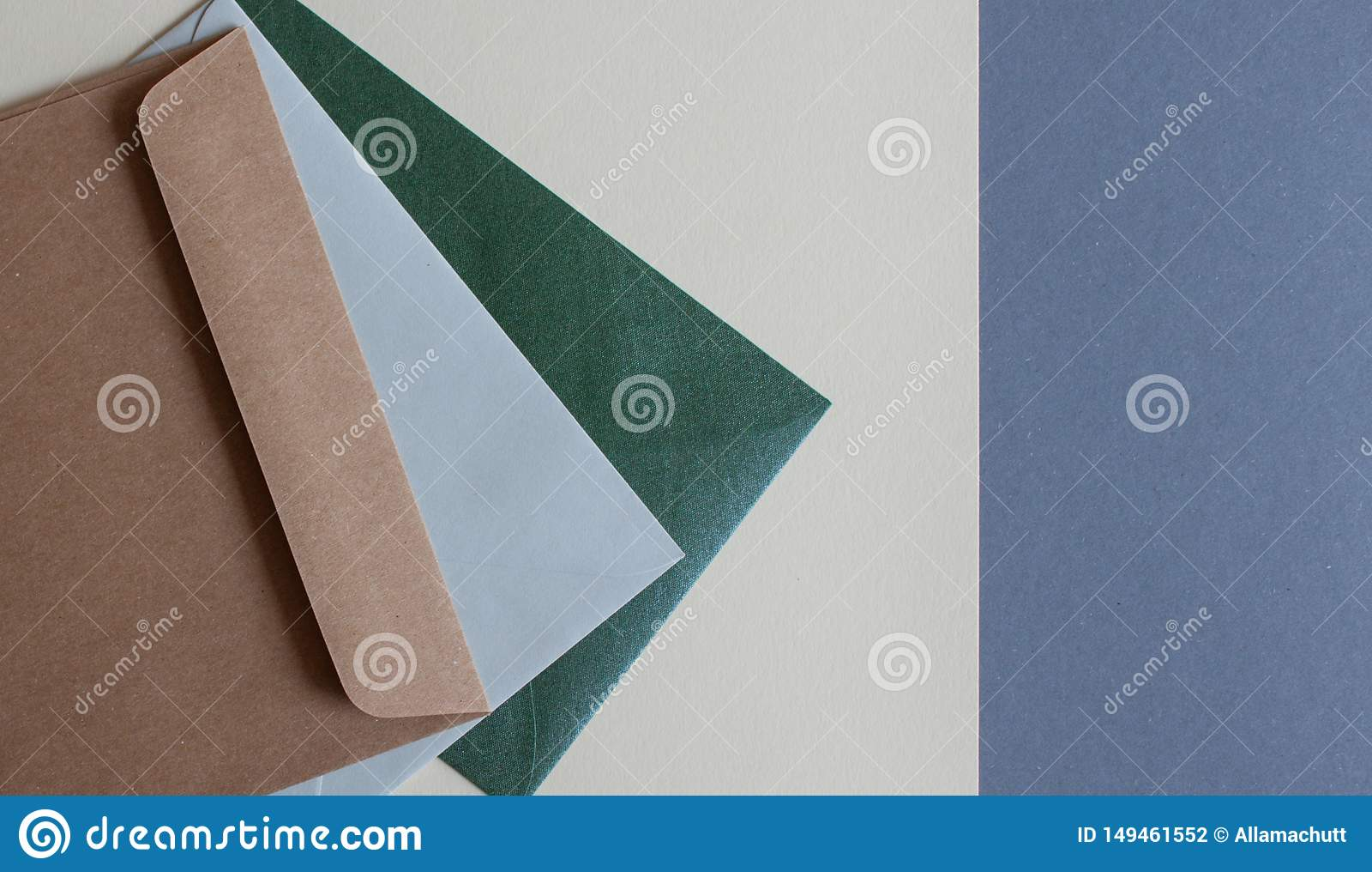 Colorful envelopes on table.