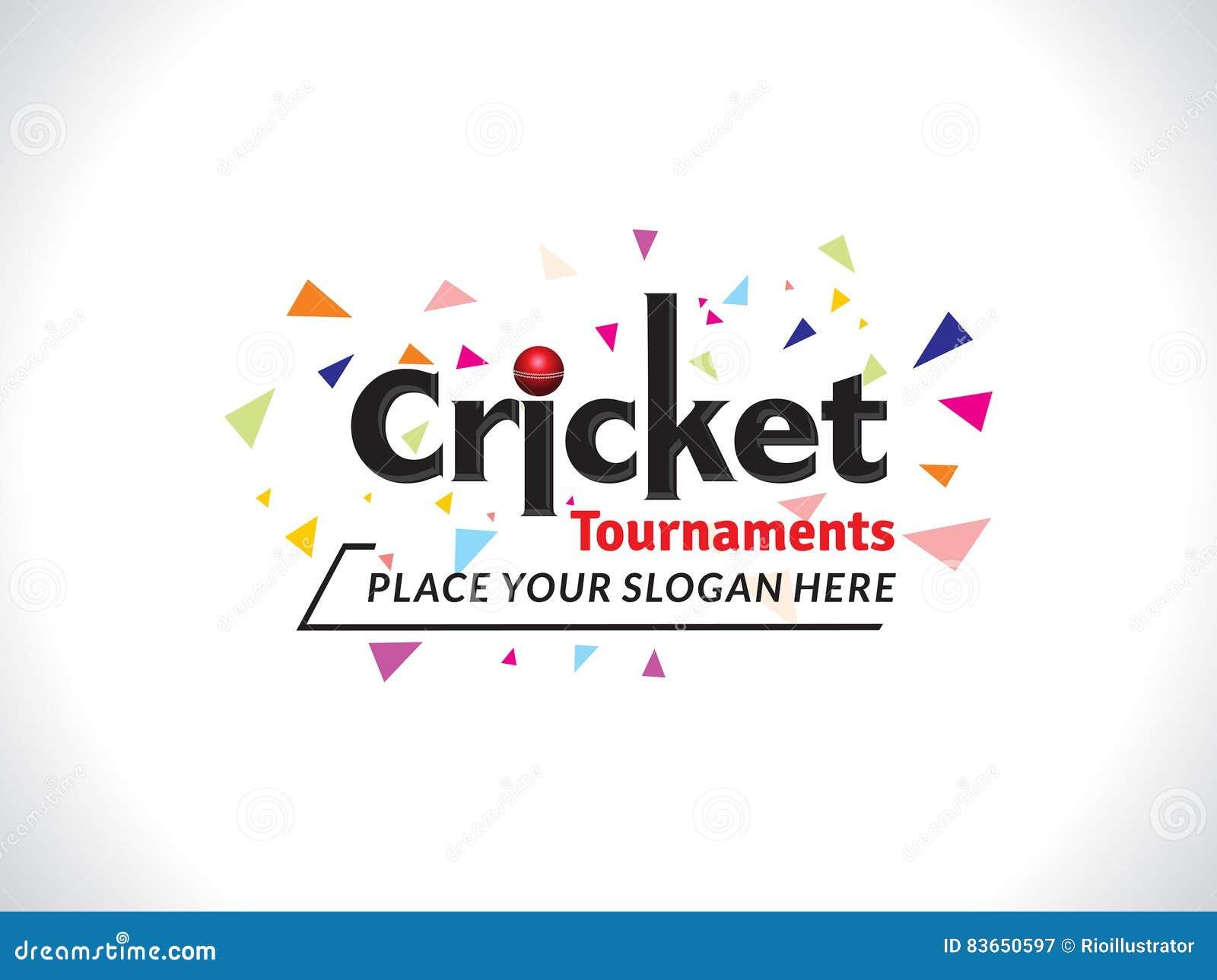 Cricket tournament text banner design template cartoon - Text banner design ...
