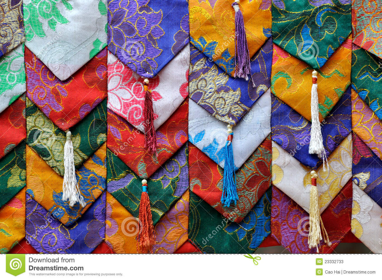 Colorful fabric decoration in tibet style stock image for Art of decoration