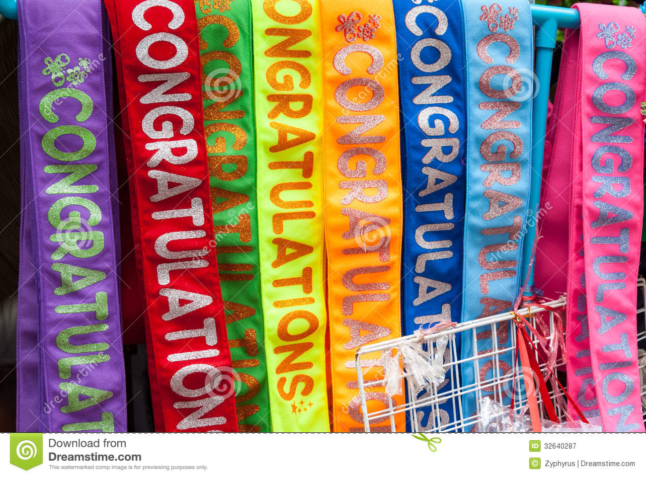 colorful fabric with graduation text sash royalty free