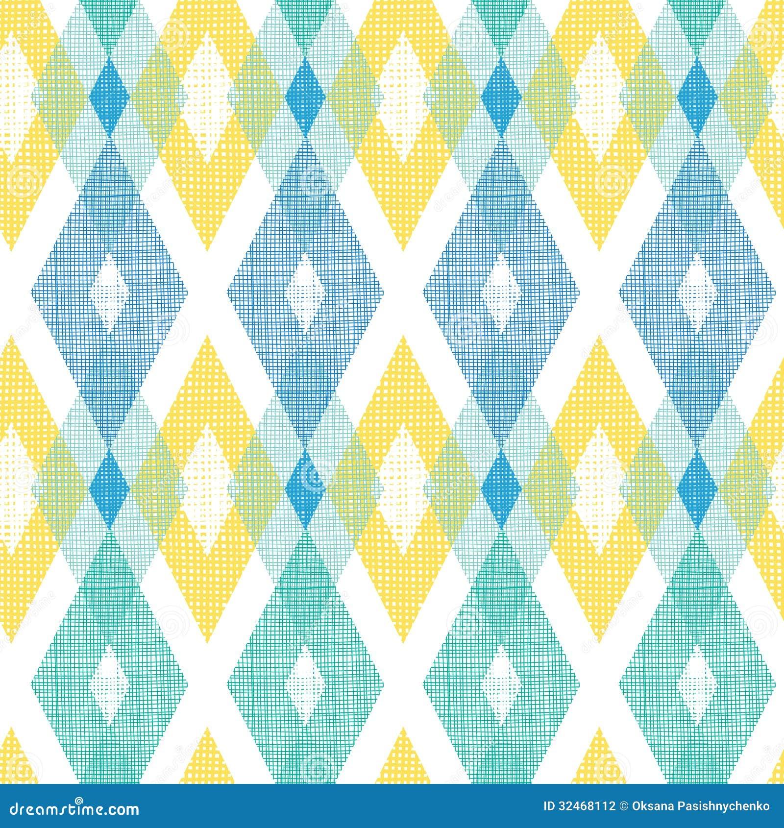 Colorful Fabric Ikat Diamond Seamless Pattern