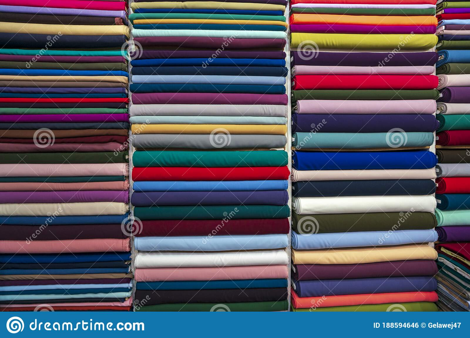 Fabric Industry Textile Store Colorful Fabric And Silk Fabric Background Cotton Fabrics In Roll Different Colors And Texture Stock Photo Image Of Bazaar Decoration 188594646
