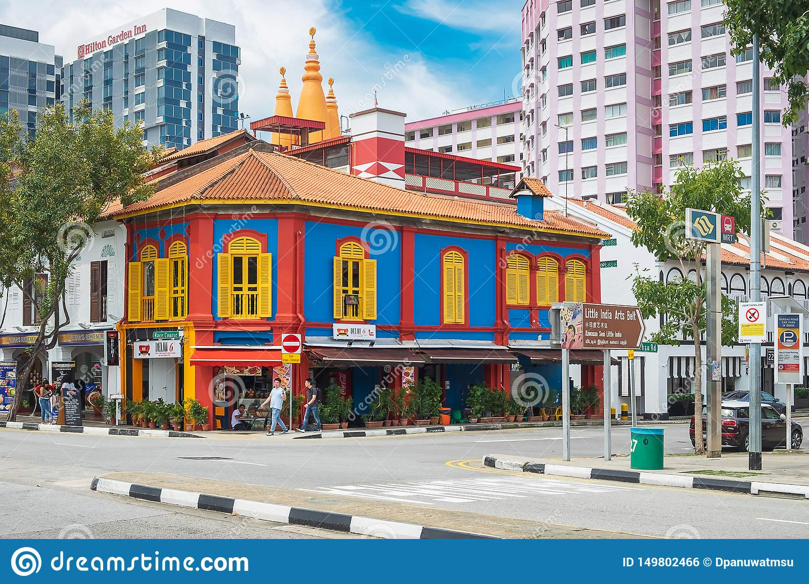 Colorful facade architecture building, Vibrant color of wooden windows in Little India district, landmark and popular for tourist