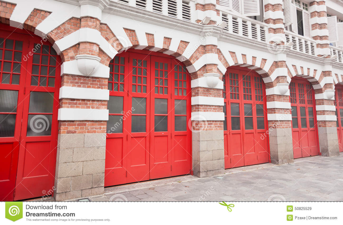 Colorful Facade Of Fire Station In Singapore Stock Image