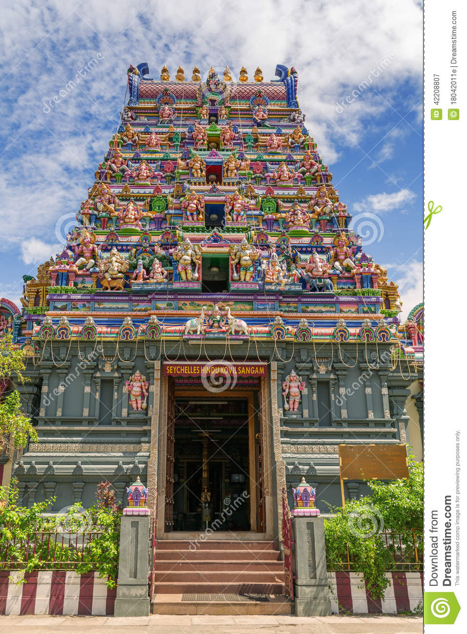 colorful facade of a hindu temple in victoria mahe seychelles stock image image 42208807. Black Bedroom Furniture Sets. Home Design Ideas