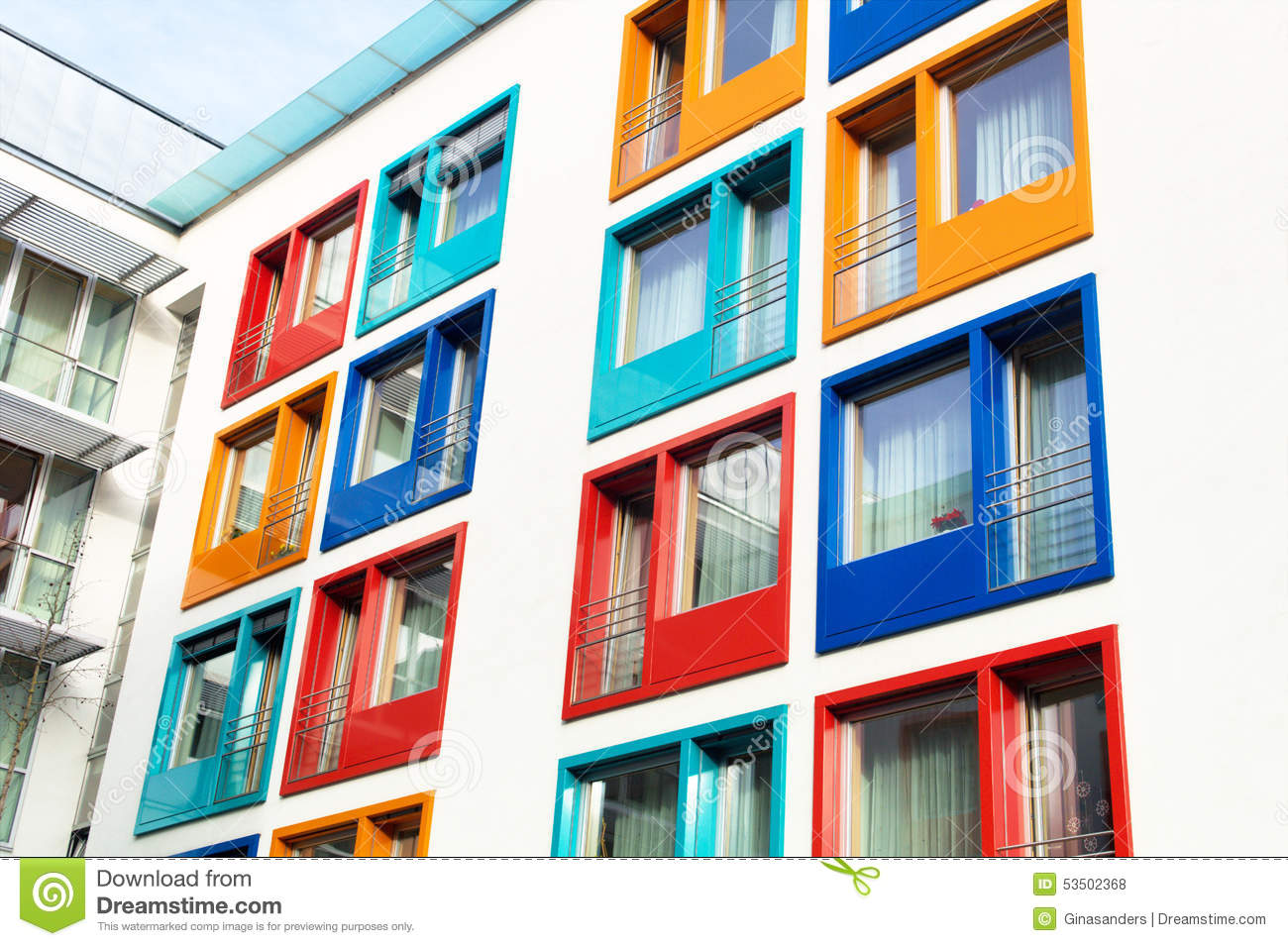 Royalty Free Stock Photo  Download Colorful Facade Of Modern Apartment Building Image