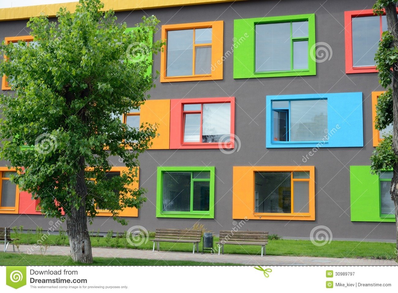 Colorful Facade Of The School Of Arts Stock Image Image
