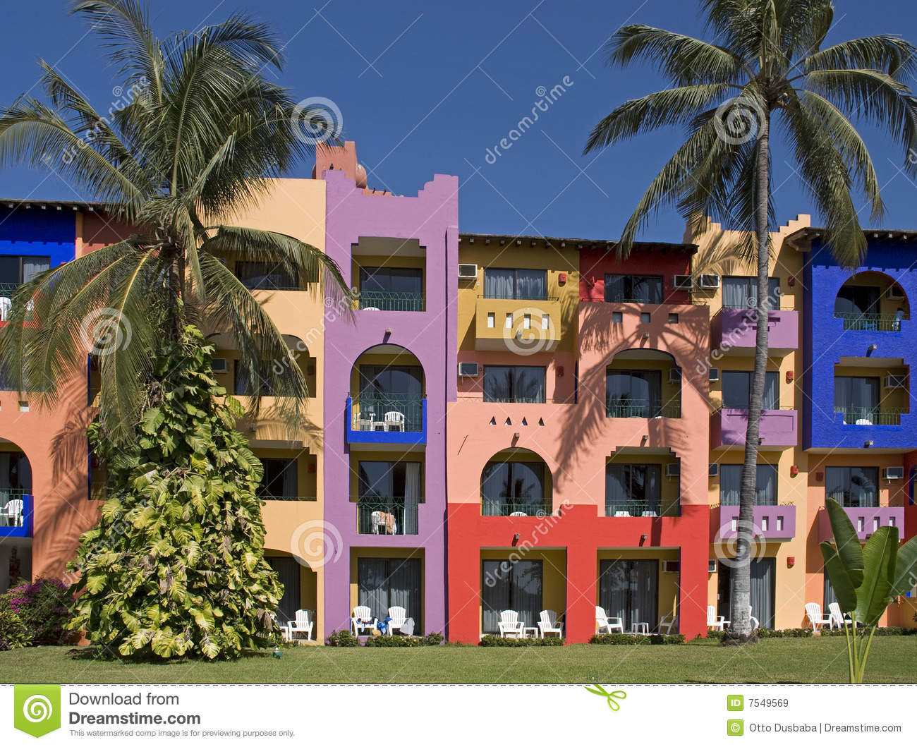 Colorful facade of a tropical resort building