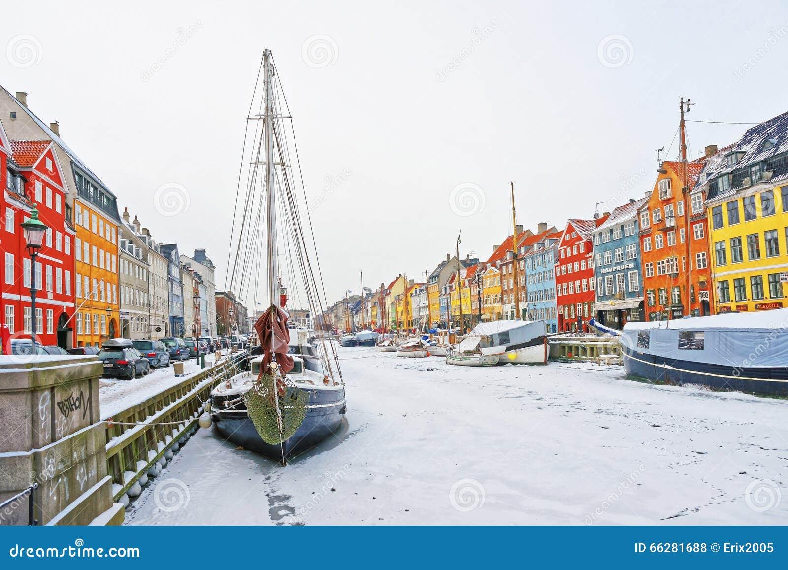 Colorful facades of Nyhavn in Copenhagen in Denmark in winter