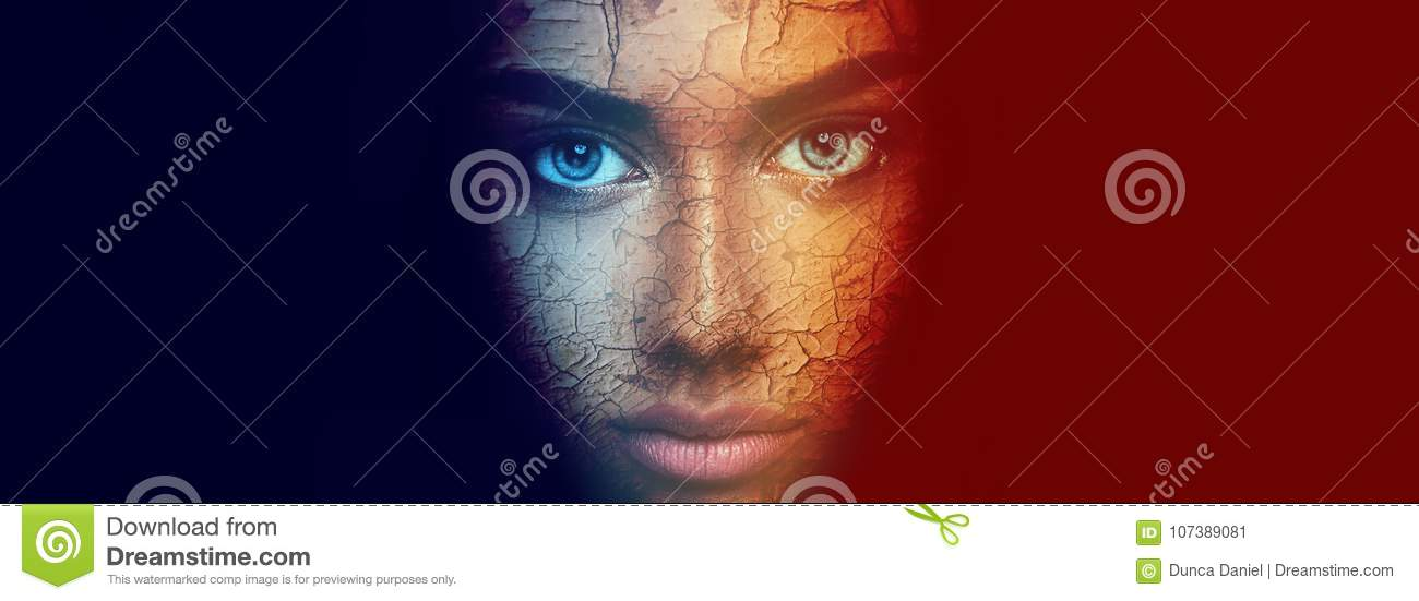 Colorful face portrait of beautiful sensual young woman