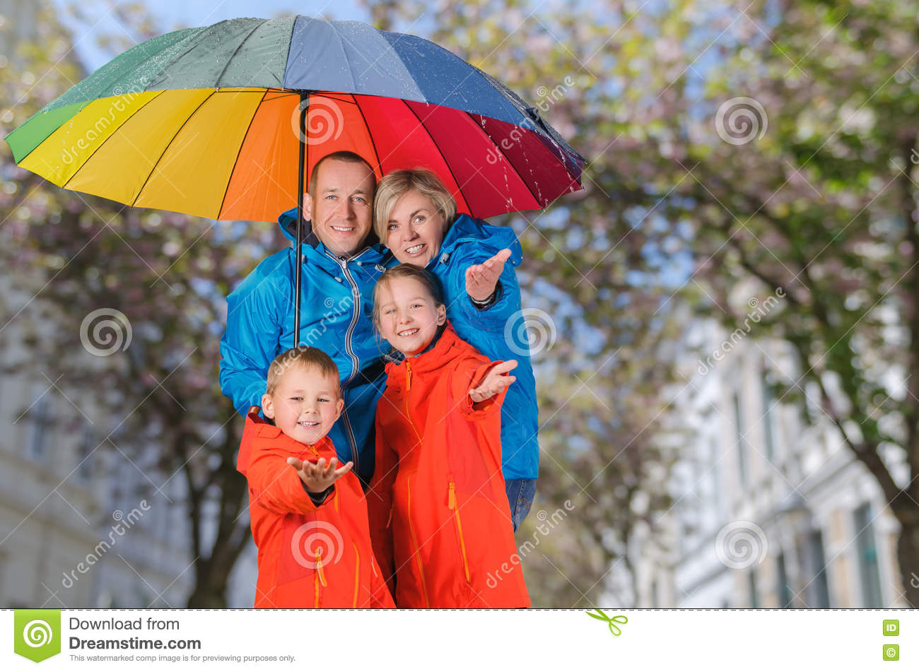 Colorful Family Have Fun Under Rain Stock Image - Image of under ...