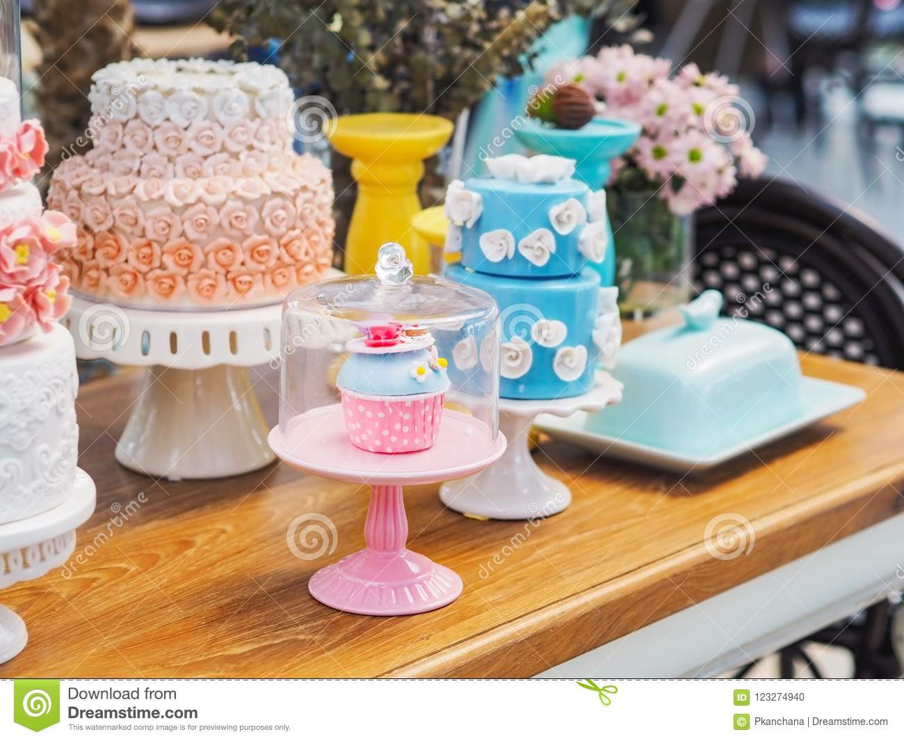 Colorful Fancy Cake On White Cakestand Stock Photo Image Of