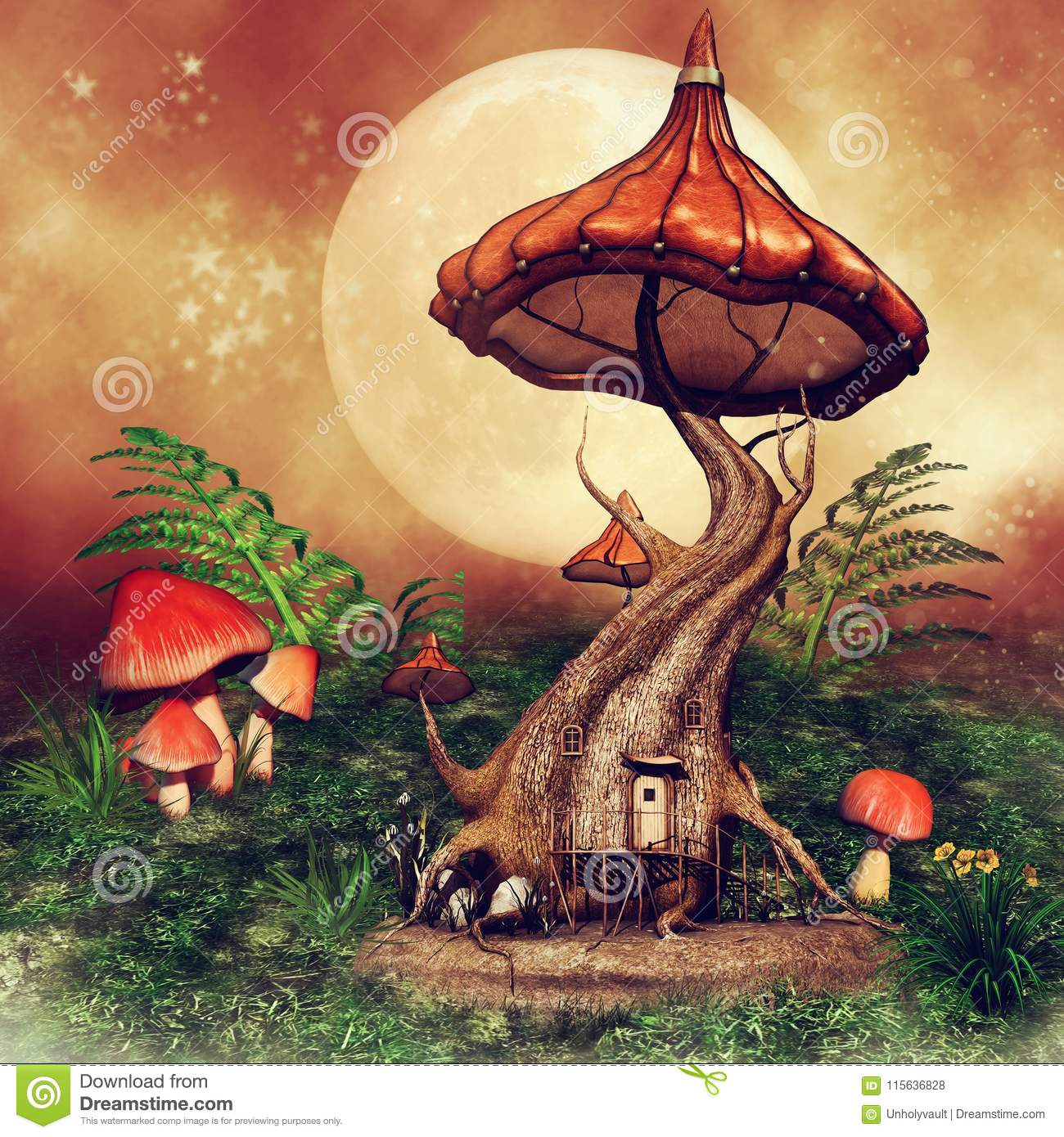 Fantasy Tree Cottage With Mushrooms Stock Illustration