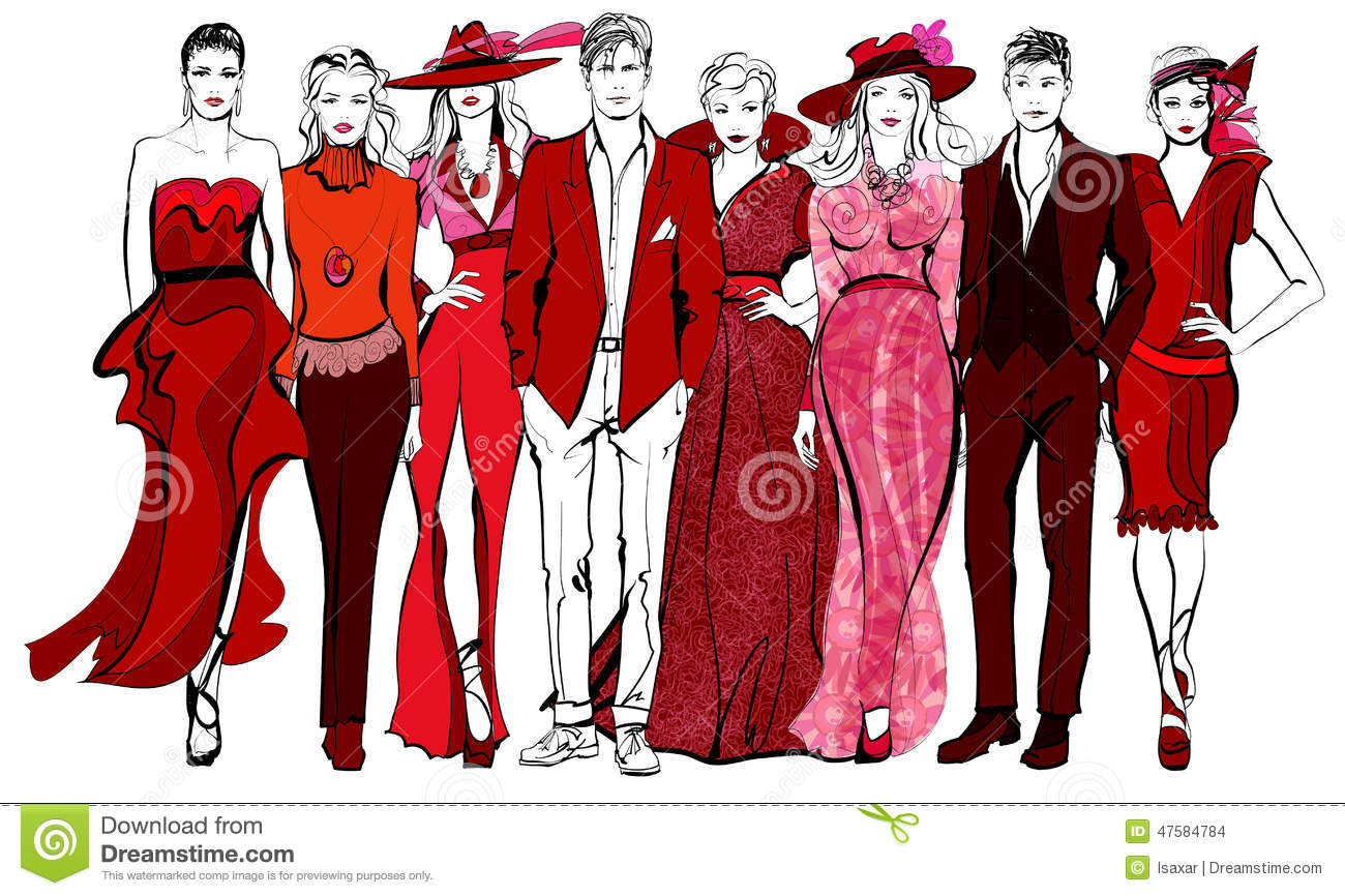 Colorful Fashion Women And Men Defile Stock Vector Illustration Of Adult Isolated 47584784