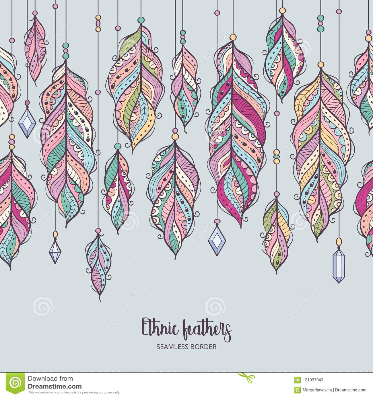 colorful feather background in bohemian style stock vector illustration of bright boho 121097043 https www dreamstime com colorful feather background bohemian style seamless border ethnic feathers crystals vector card design image121097043