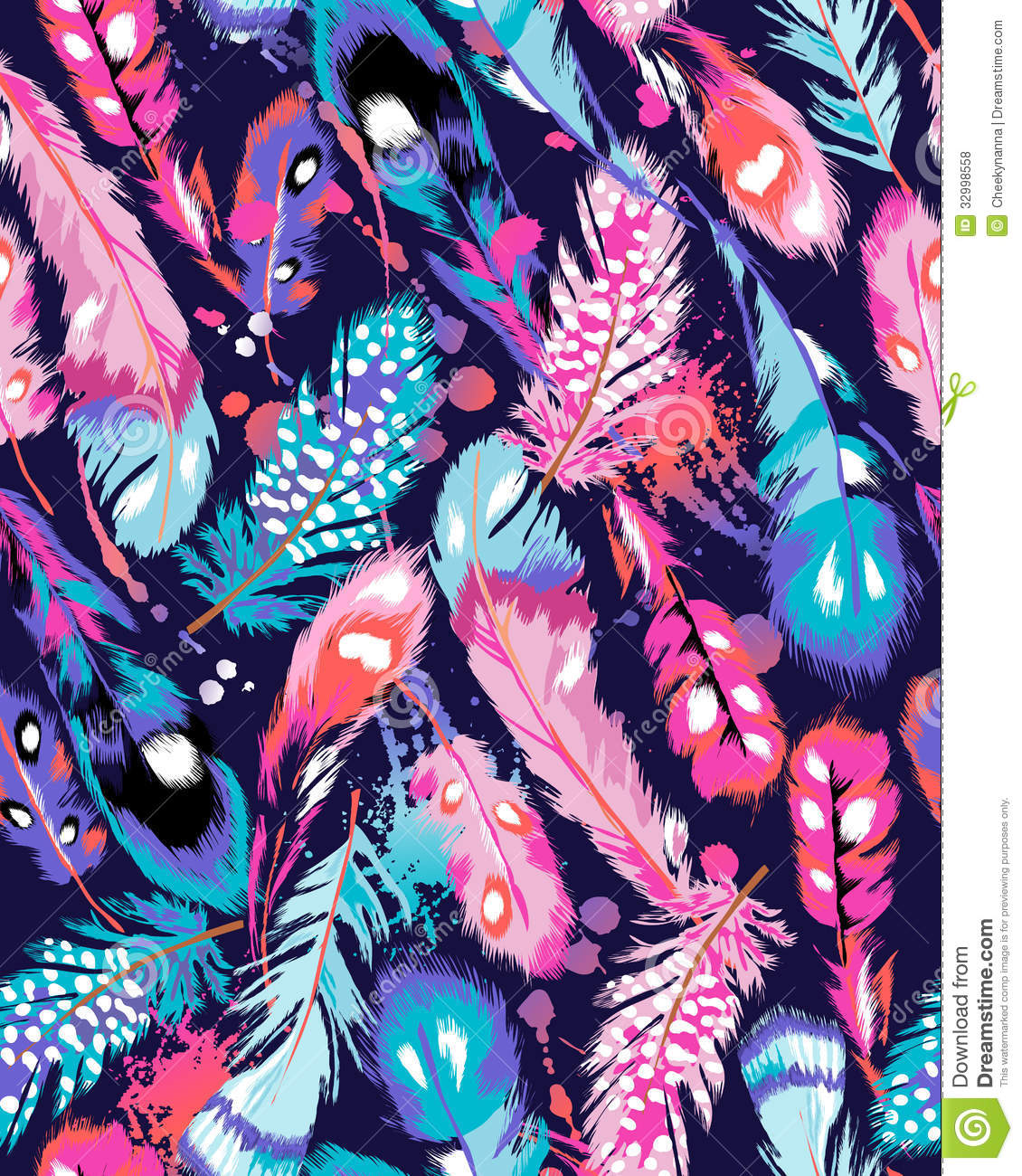Colorful feather print...