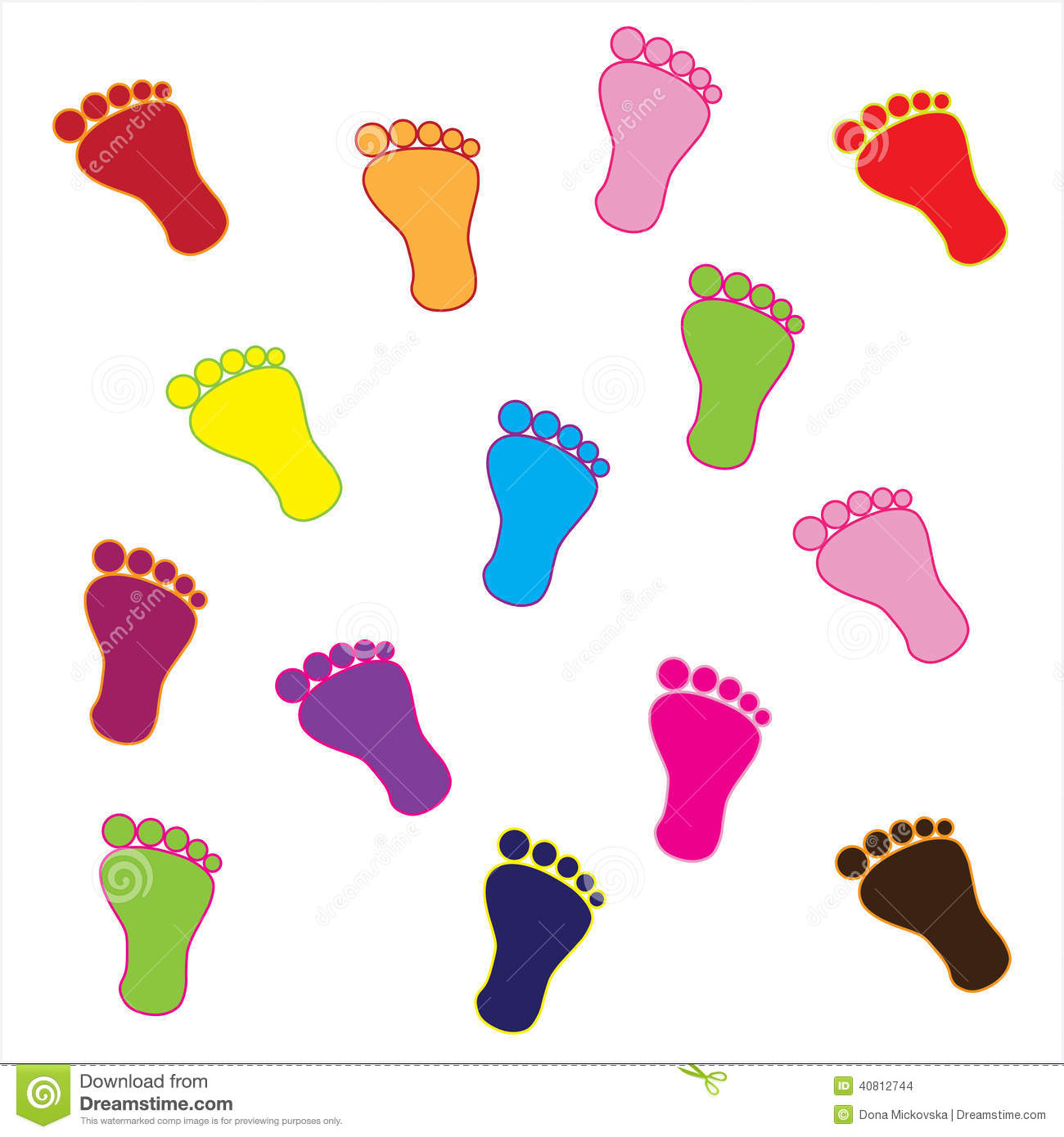 Colorful Feet Stock Vector Image 40812744